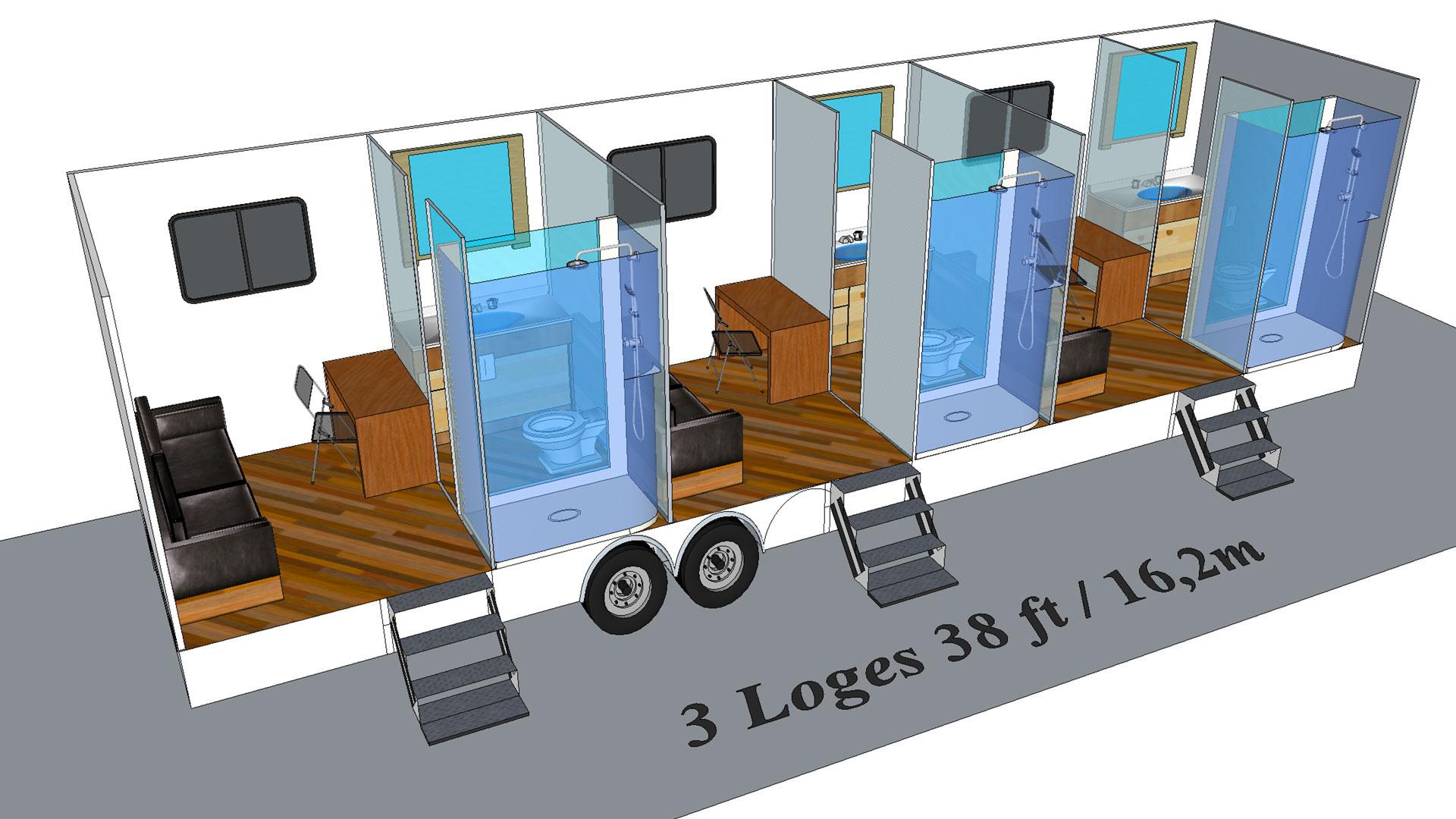 3 Loges modèle 3D