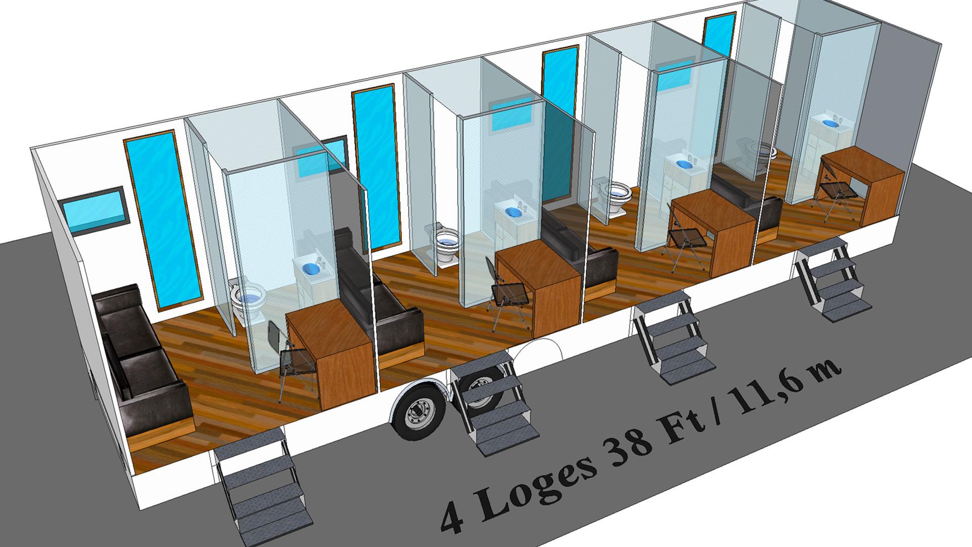 4 Loges modèle 3D