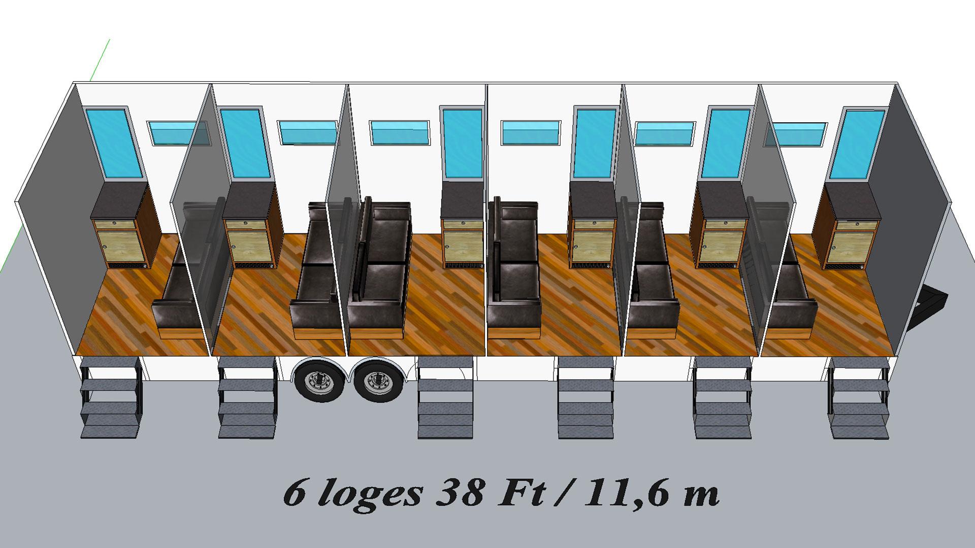 6 Loges modèle 3D