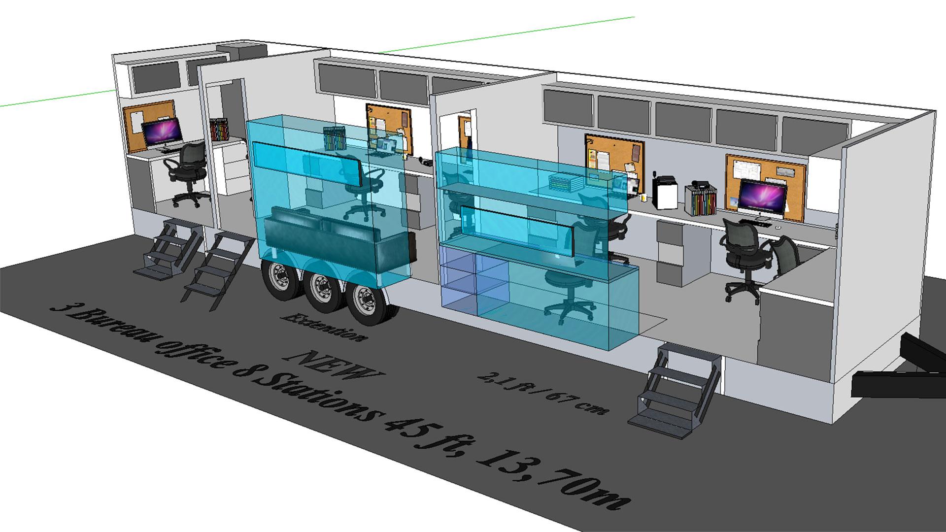 Bureau 3 portes modèle 3D
