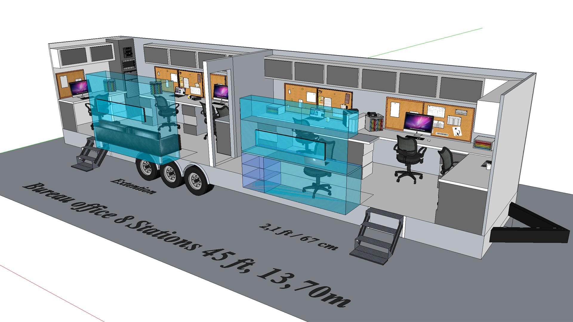 Bureau 2 portes modèle 3D